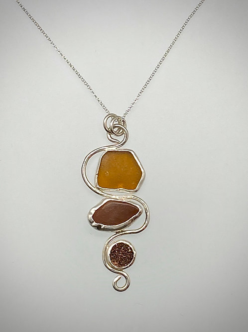 Sterling Piece of Maine Amber Sea Glass, Beach stone and Druzy Necklace