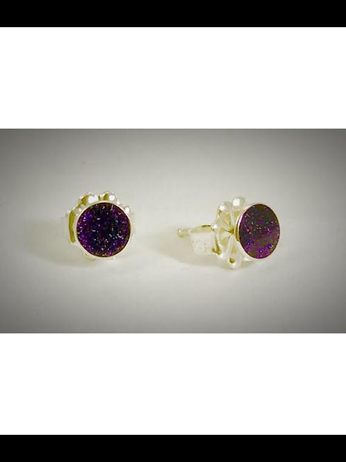 Small Dark Purple Resin Post Earrings