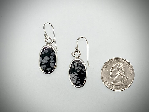 Sterling Snowflake Obsidian Earrings
