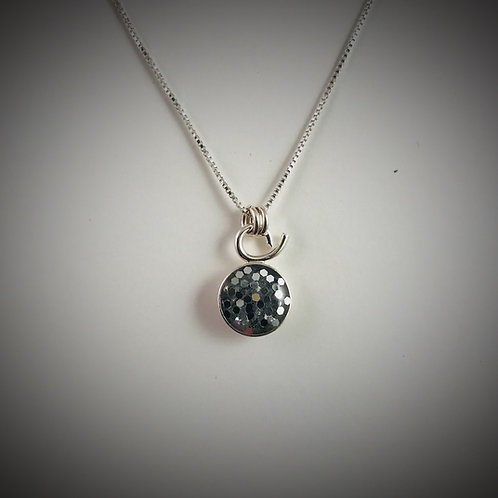 Small Sterling Resin Necklace with Big Charcoal Metal Flakes