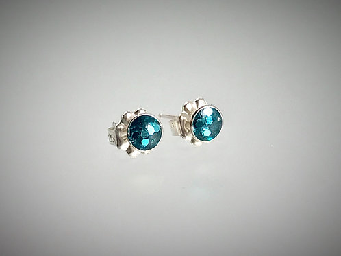 Sterling Small Post Earrings with Teal large Metal flakes