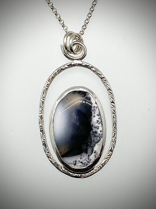 Sterling Dendritic Opal Halo Necklace