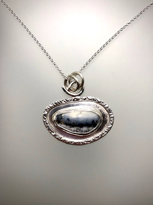 Sterling Dendritic Agate Frame Necklace