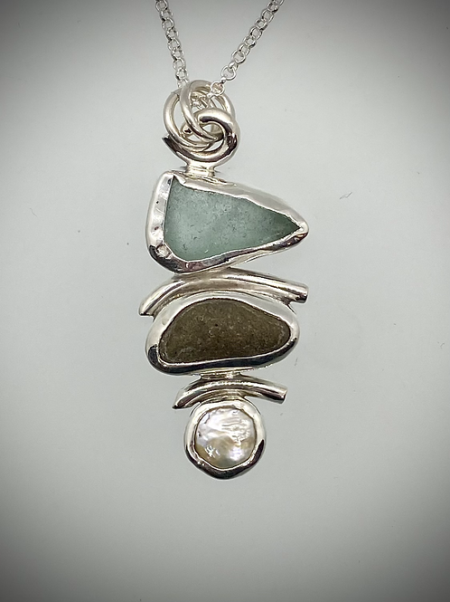 Sterling Piece of Maine Sea Glass, Beach Stone and Pearl Necklace