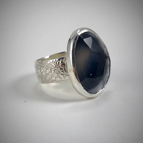 Sterling Faceted Dendritic Agate Ring