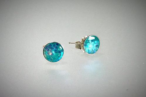 Sterling Large Light Turquoise Metal Flake Resin Post Earrings