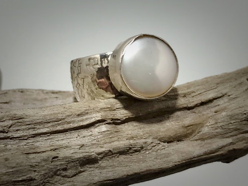 Sterling Wide Band Coin Pearl Ring
