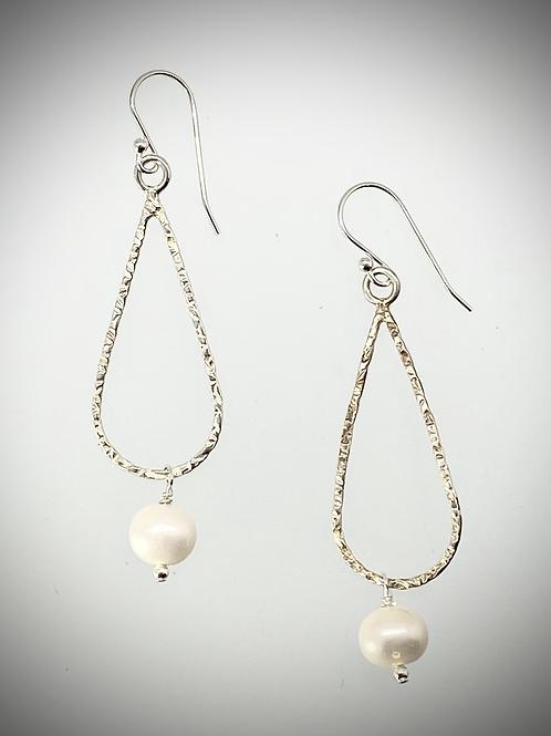 Sterling Medium Teardrop Earrings with Freshwater Pearl