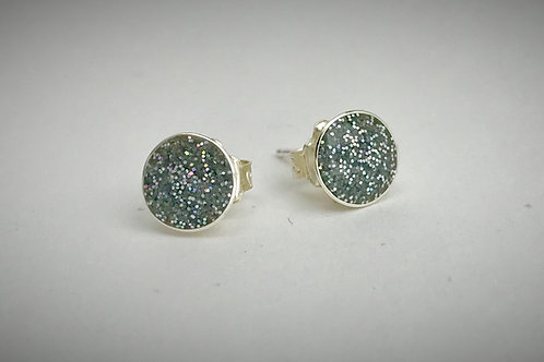 Sterling Large Silver Resin Post Earrings