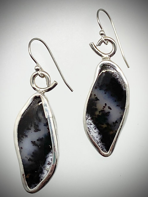 Sterling and Dendritic Opal Earrings
