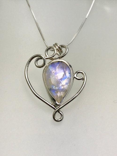 Sterling Rainbow Moonstone Swirl Necklace