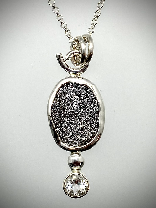 Sterling Bauble Necklace with Silver Druzy and Faceted White Topaz
