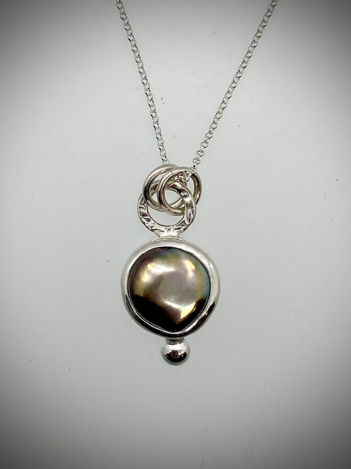 Sterling Brown Pearl Bauble Necklace