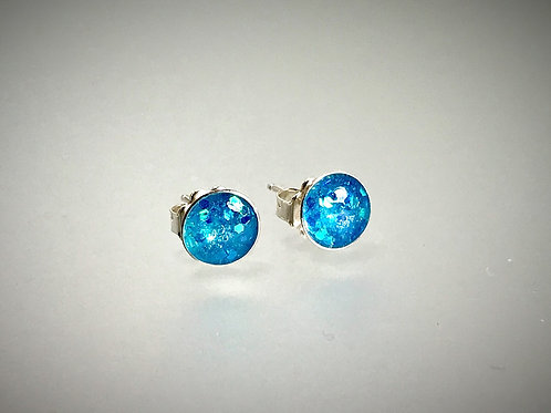 Sterling Large Turquoise Metal Flake Resin Post Earrings