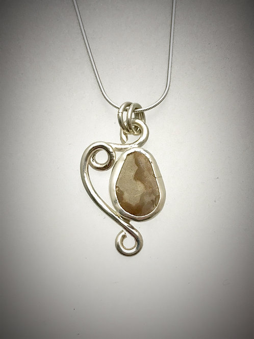 Sterling Piece of Maine Tan Beach Stone with Swirls