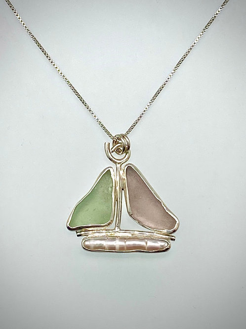 Sterling Sailboat Necklace with Maine Sea Glass and Freshwater Pearl
