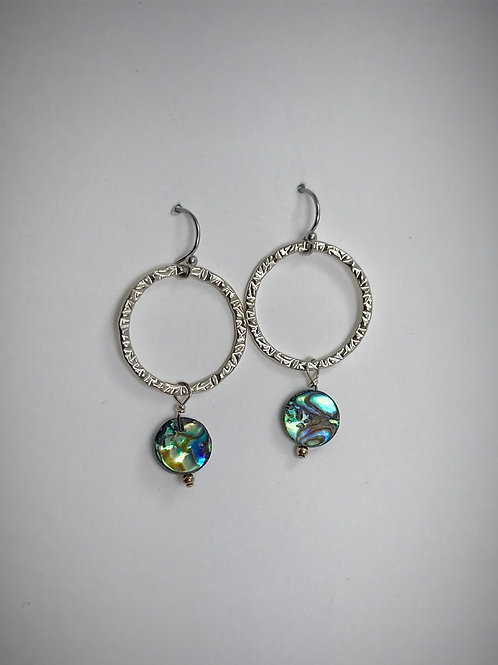 Large Sterling Circle Earrings with Abalone Drops