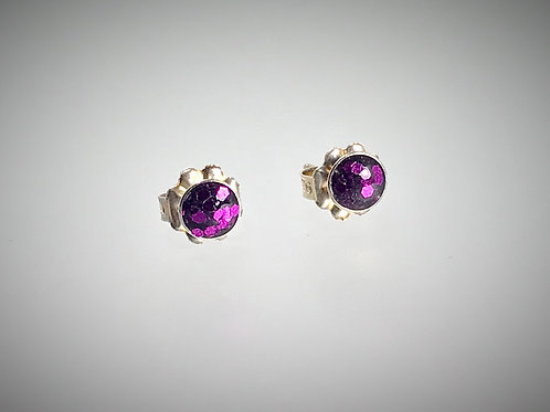 Sterling Small Post Earrings with Large Metal Flake Grape Resin