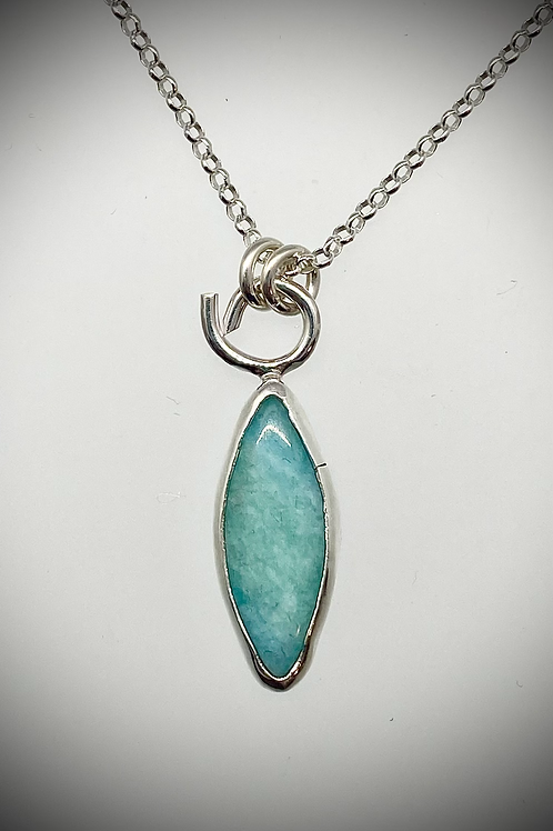 Sterling Marquis Shaped Amazonite Necklace