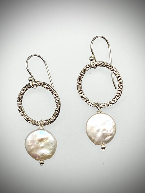 Sterling Circle Earrings with Freshwater Coin Pearl