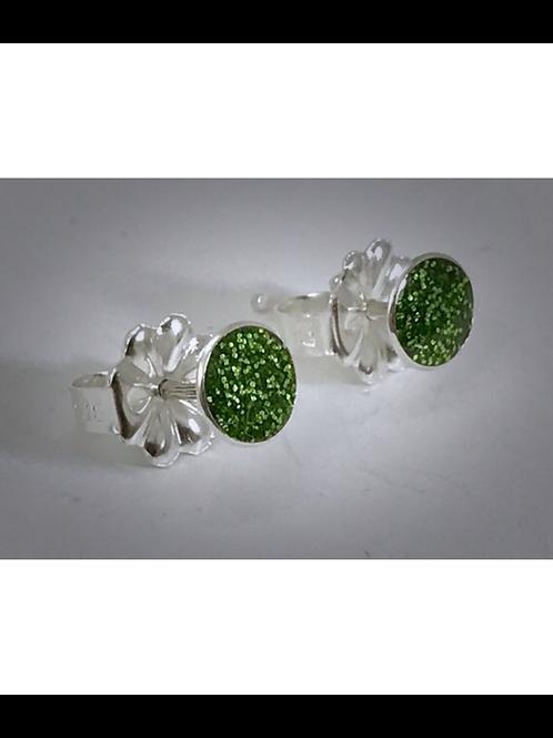 Small Sterling Pesto Green Resin post Earrings