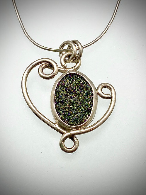 Sterling Green Druzy Swirl Necklace