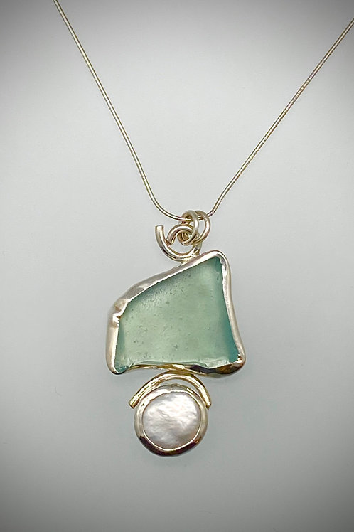 Sterling Piece of Maine Aqua Sea Glass and Freshwater Pearl Necklace