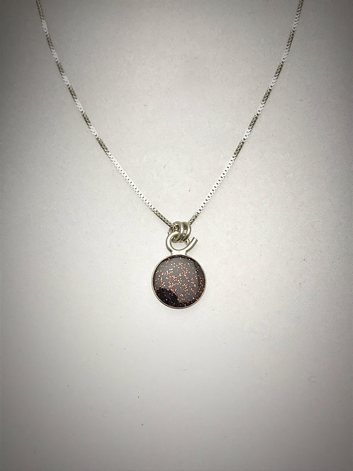 Tiny Chestnut Brown Resin Necklace