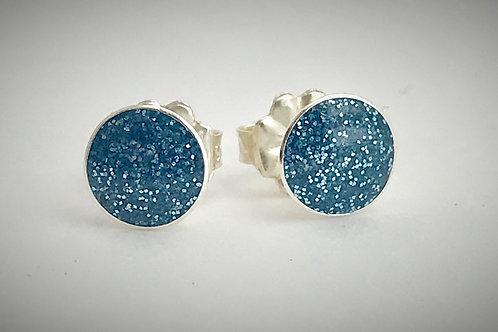 Large Sterling Slate Blue Resin Post Earrings