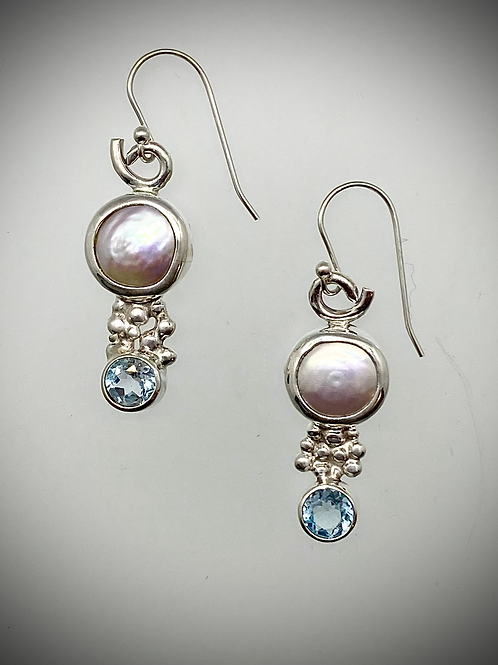 Sterling Freshwater Pearl and Topaz Earrings