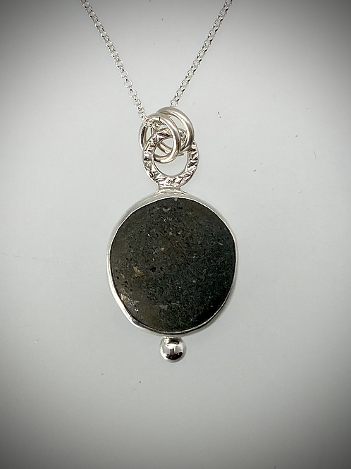 Sterling Piece of Maine Beach Stone Bauble Necklace