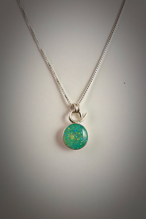 Tiny Sterling Mint Resin Necklace