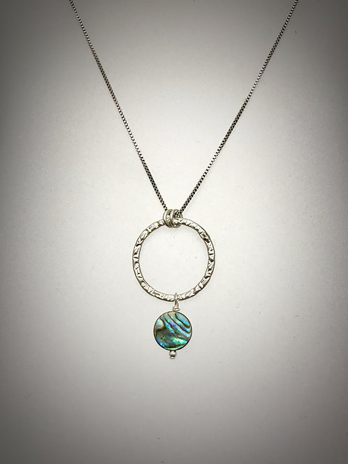 Large Sterling Circle Necklace with anAbalone Drop