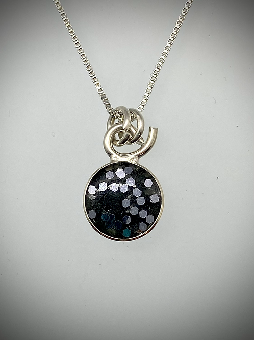 Sterling Large Flake Charcoal Resin Necklace