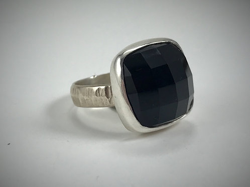 Sterling and Faceted Black Onyx Ring