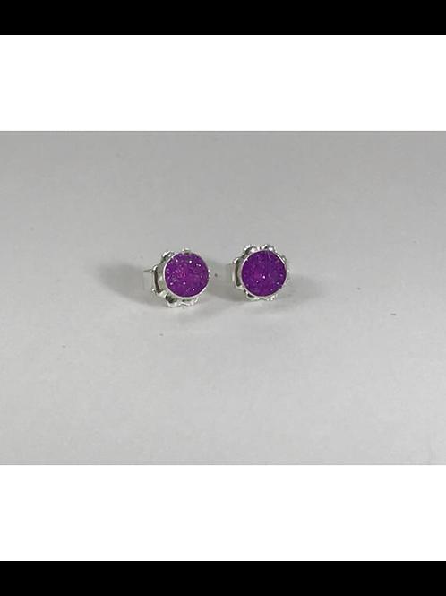 Sterling Bright Purple Resin Small Post Earrings