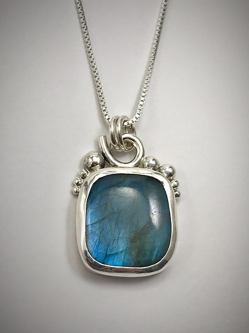 Sterling and Rectangle Shaped Labradorite Bauble Necklace