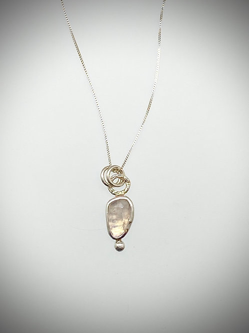 Sterling Bauble Necklace with Faceted Rainbow Moonstone