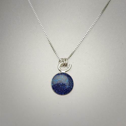 Tiny Sterling Navy Resin Necklace