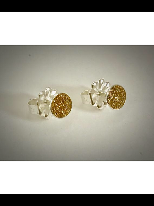 Sterling Small Gold resin Post Earrings