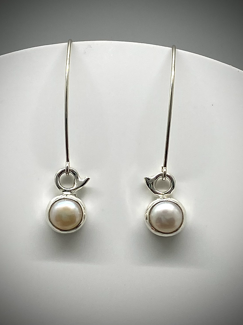 Sterling Tiny Pearl Earrings with Long Earwires