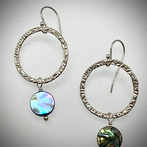 Sterling Large Circle Earrings with Abalone