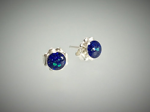 Sterling Small post Earrings with Large Blue Sparkle Resin