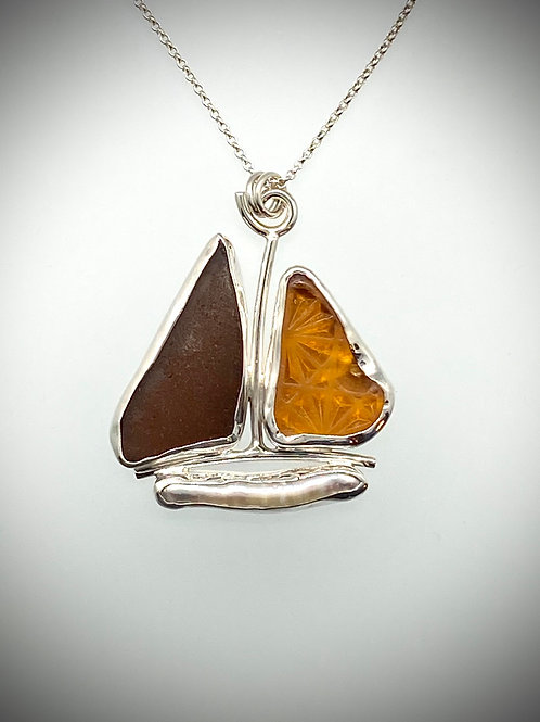 Sterling Piece of Maine Sailboat Necklace with Sea Glass and Pearl