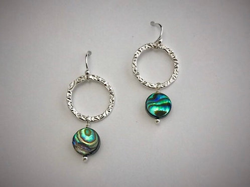Sterling Medium Circle Earrings with abalone Drops