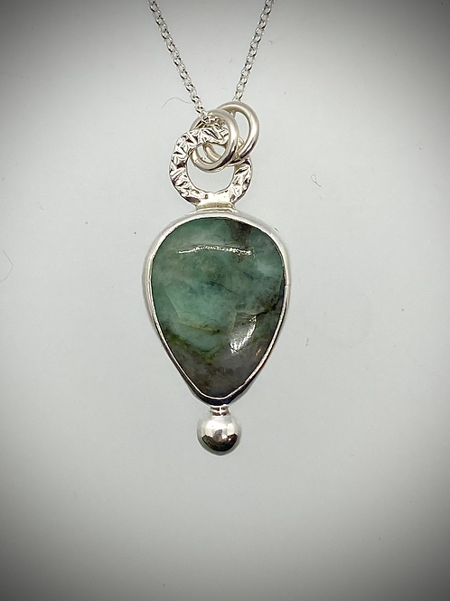 Sterling and Raw Emerald Bauble Necklace