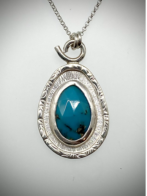 Sterling Turquoise Frame Necklace