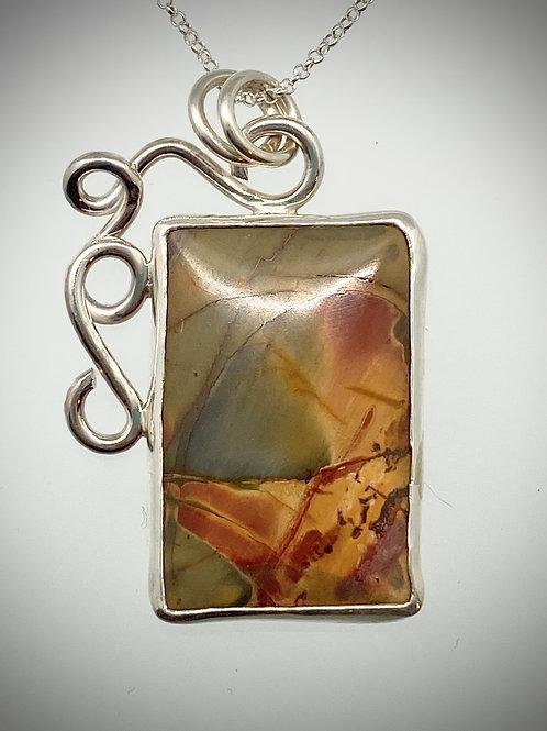 Sterling Red Creek Jasper Swirl Necklace