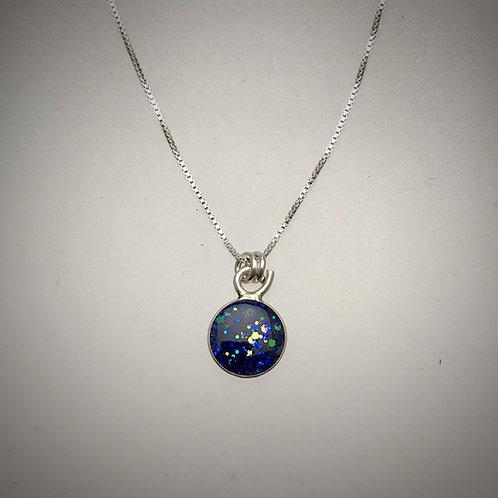 Sterling Tiny Sparkle Blue Resin Necklace