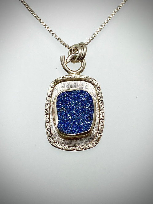 Sterling and Blue Druzy Frame Necklace